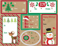 48 CHRISTMAS GIFT TAG STICKERS LABELS self adhesive kraft red green round square