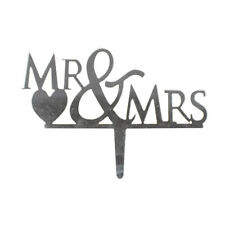 Mr. & Mrs. Mirrored Acrylic Cake Topper, Silver, 4-Inch