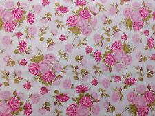 Stoff Baumwolle Patchwork Rose Rosen Blumen floral rosa pink weiß 112cm breit
