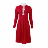 Women's Long Sleeve Bodycon Lace Casual Party Evening Cocktail Swing Short Dress