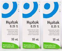 3 x Hyabak 10ml Eye Drops Hypotonic Formula-Preservative Free 30ml BNWT