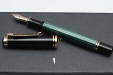 Pelikan 600 Green Stripe and Black Fountain Pen 14K EF - New and Boxed