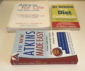 3 Books - Atkins for Life Dr Atkins New Diet & The New Atkins Made It Easy