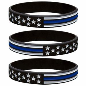 Thin Blue Line Flag Bracelets American Flag Bracelet Police - PACK OF 3