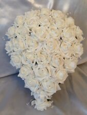 ARTIFICIAL WEDDING FLOWER WHITE FOAM ROSE BRIDE CRYSTAL WEDDING TEARDROP BOUQUET