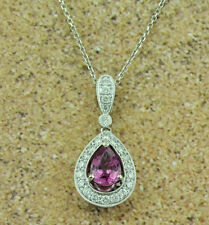 14k Solid White Gold Natural Diamond & Pear Shape Pink Sapphire Pendant 1.86 ct
