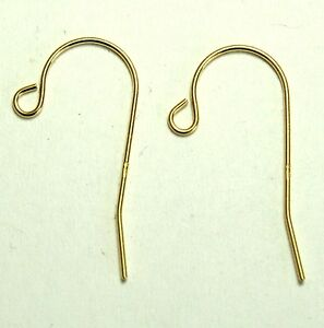 1 pair 14K solid yellow gold 21x11mm earrings french ear wire hooks