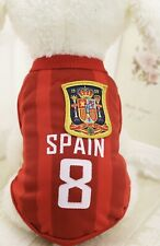Spain Soccer Football Jersey Dog Clothes Sml & Large