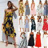 UK Womens Holiday Strappy Button Pocket Ladies Summer Beach Midi Swing Sun Dress