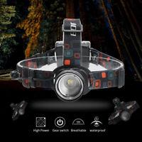 Zoomable 10000LM XM-L T6 LED Headlight 3Mode Flashlight Head Lamp AA Light Torch