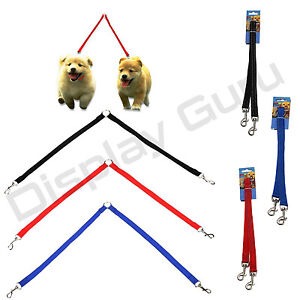 Double Dog Lead Coupler Reflective  Nylon Training Lead for 2 Dogs