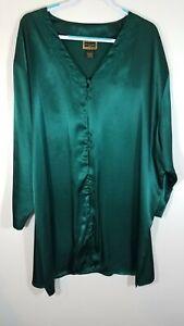 Vtg Solange Women 26/28 Button Nightshirt Green Satin Lace Loungewear