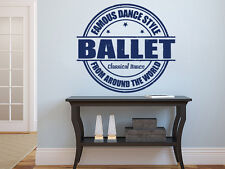 Wall Decals Quote Famous Dance Style Ballet Decal Vinyl Sticker Home Decor MS599