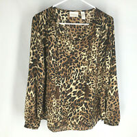 NEW Chico's Popover Blouse Size 1 Animal Print Lightweight V-Neck Womens