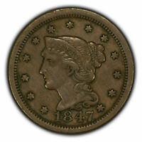 1847 1c Braided Hair Large Cent - Original VF Details - SKU-Y2779