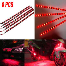 8pcs 15 SMD LED 30cm Car Auto Flexible Grill Light Lamp Strip Waterproof Red 12V