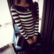 Sueter Top costura encaje rayas Sexy Lace Stitching Striped Sweater Pullover S