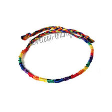 LGBT Gay Lesbian Pride Rainbow Thin Silk Cord Bracelet Wristband Jewellery Band