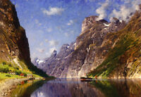 Nice Oil painting Adelsteen Normann - View of a Fjord beautiful landscape canvas