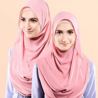 Bubble Pop Chiffon Maxi Women Hijab Scarf Shawl Wrap Muslim Islamic Headwear