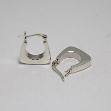 Hoop Earrings Sterling Silver 925 Plain Small Trapezium Lever Back Huggie