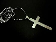 "A STAINLESS STEEL  CROSS  NECKLACE. GOTH. 18"" LONG. NEW."