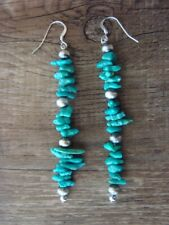 Native American Navajo Jewelry Handmade Turquoise Dangle Earrings - D. Jake