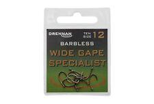 Drennan Eyed Barbless Wide Gape Specialist Hooks for coarse fishing sizes 4 -18