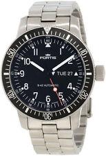Schwarze Fortis B-42 runde Armbanduhren