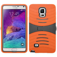 For Samsung Galaxy Note 4 HYBRID Hard Gel Rubber KICKSTAND Case Phone Cover