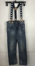 BOYS DENIM JEANS WITH SUSPENDERS SZ 6-7Y Blue Washed STARS