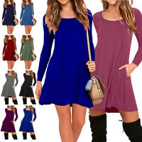Women's Long Sleeve Day Dress with Side Pockets Fall Tunic Swing T-Shirt Casual