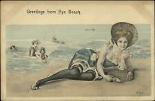 AVER - Bathing Beauty Woman Greetings RYE BEACH - NH or NY? c1910 Postcard