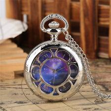 Silver Starry Sky Meteorite Quartz Pocket Watch Analog Necklace Pendant Chain