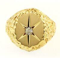 9Carat Yellow Gold & Diamond Patterned Head Signet Ring (Size T 1/2) 17mm Head