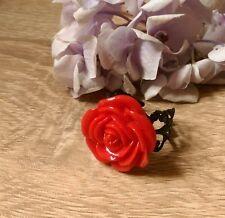 Rosso Brillante Anello Fiore Rosa Burlesque Gotico vintage con filigrana dichiarazione