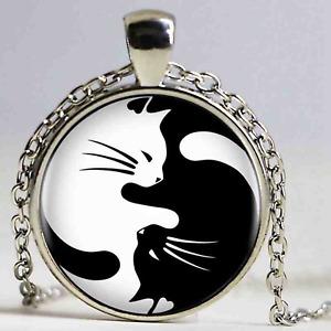 Yin & Yang Black & White Cats Pendant Necklace - UK Stock