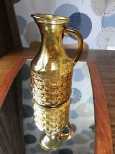 Mid Century Retro Brown Amber Glass Jug Vase Cocktail Punch Pitcher Party Drinks