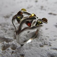 Size 10 (EU Size 62) Size 10 Multi-Color BALTIC AMBER Ring STERLING SILVER #1930