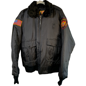 Spartan Jacket Mens Large Black Police Security Heavy Weight Quilt Vintage C6