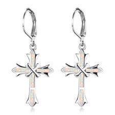 Unique cross White Imitation Opal Inlay Silver Jewelry Dangle Drop Earring