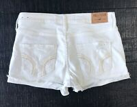 Hollister White High Rise Destroyed Ripped Denim Jean shorts size 3 26