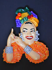 Carmen Miranda Fruit Hat Vintage Retro Wall Plaque 1940s 50s Chalkware