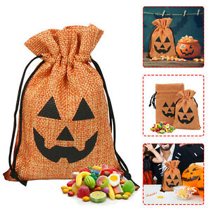 1/4/10/16PCS Halloween Linen Gift Bag Candy Bags Trick Or Treat Drawstring Pouch