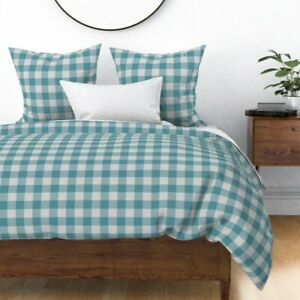 Teal Grey Plaid Check Buffalo Sateen Duvet Cover by Roostery