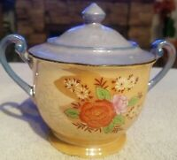 CHIKARAMACHI Vintage Sugar Bowl/Lid Gold Blue Japan Hand Painted Dinnerware 4.5""