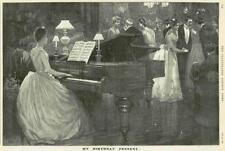 1890 antica stampa-Pubblicità John Brinsmead Pianoforte Giovane donna seduta (056)