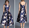 Womens Sleeveless Ball Gown Dress Swing Party Formal Floral Slim Midi Formal SZ