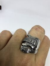 Vintage Silver Gothic Guitar Stainless Steel Size 8 Ring