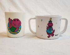 VTG x2 Barney The Purple Dinosaur Plastic Cups 1992/93 Baby Double Handle